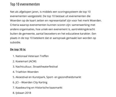 Evenementen top 10 Woerden 2017